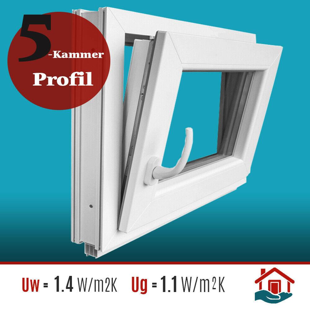 Kunststoff schneller Versand FIB verschiedene Ma/ße - wei/ß BxH: 70x60 cm Kellerfenster 2-fach-Verglasung 60mm Profil Festverglasung