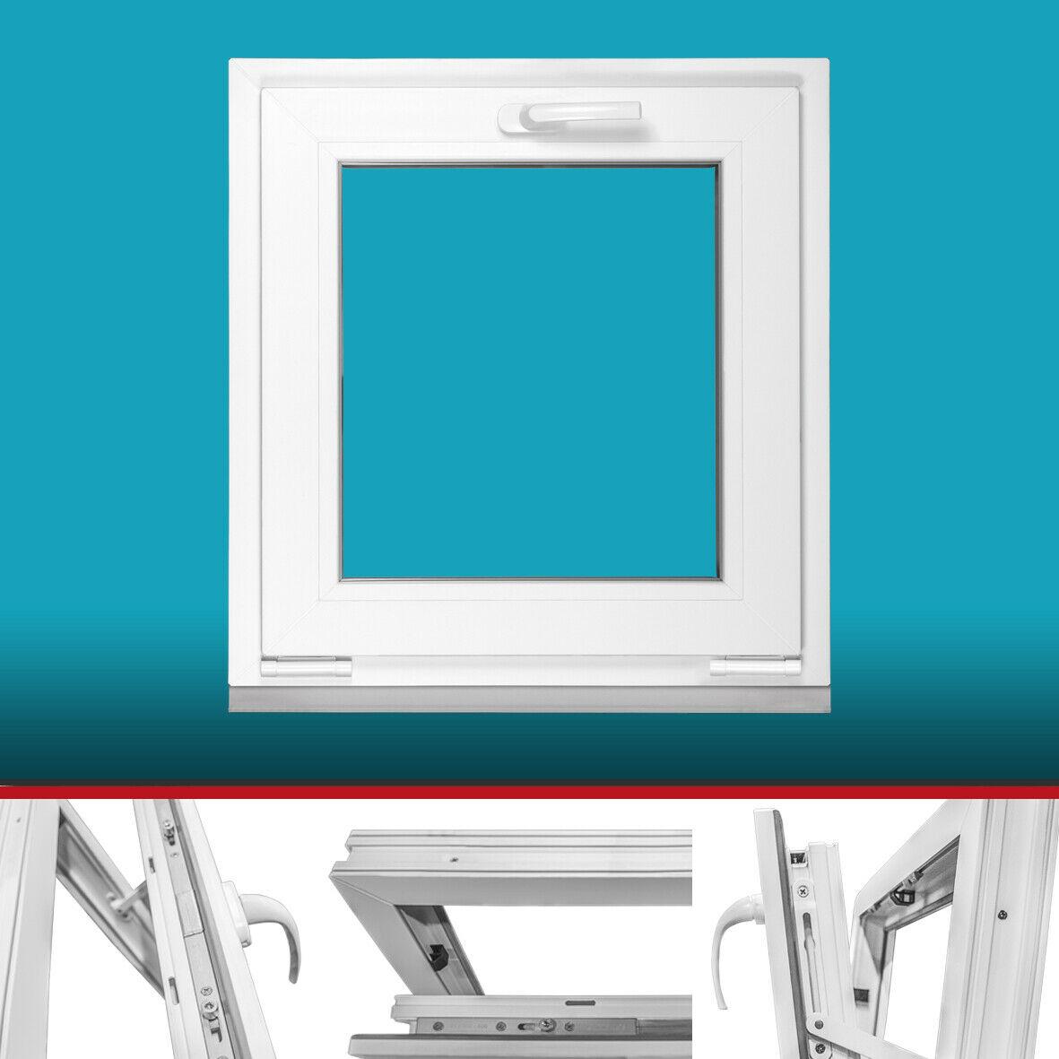 3-Fach-Verglasung BxH 500x500 // 50x50 DIN Links Fenster Lagerware Wunschma/ße m/öglich Kellerfenster wei/ß Kunststoff